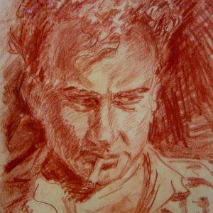 opera di Antonio amore matita sanguigna su carta